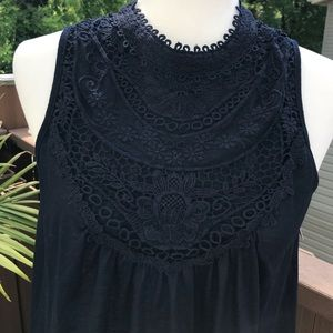 Xhilaration Tops - 🔹NWT Indigo Crochet Neck/Hem Sleeveless Blouse🔹